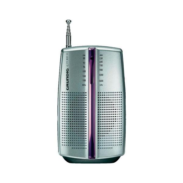 Grundig city 31 plata radio am/fm portátil con altavoz y auriculares