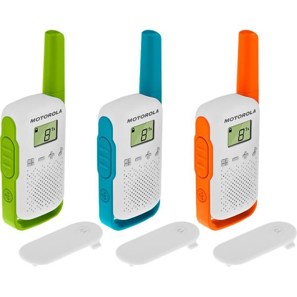 Motorola talkabout t42 triple pack walkie talkies 4km 16 canales pantalla lcd