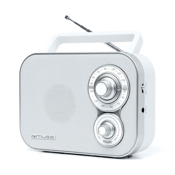 Muse m-051 rw blanco radio analógica fm/am con altavoz integrado
