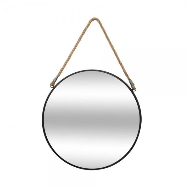 Espejo redondo de metal con cuerda diam.55cm