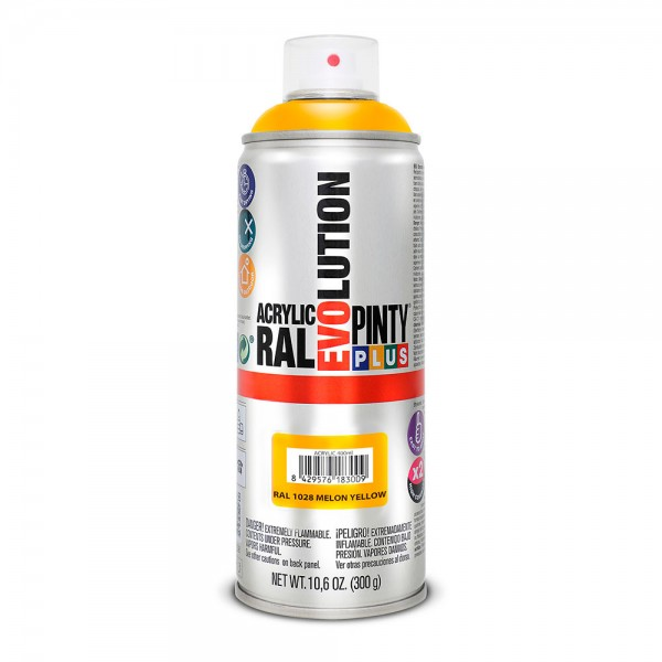 Pintura en spray pintyplus evolution 520cc ral 1028 amarillo melón